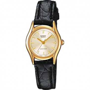 Casio Ladies Watch Gold Tone Case Black Leather Strap LTP-1154PQ-7AEF