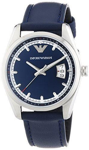 Emporio Armani Mens Watch Blue Leather Strap Blue Dial AR6017