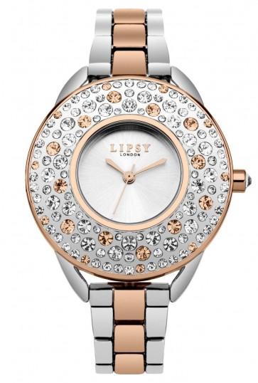 Lipsy Womens Ladies Quartz Wrist Watch Silver Dial TwoTone Alloy Bracelet LP476