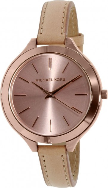 Michael Kors Thin Runway Ladies Watch Rose Gold Dial Beige Strap MK2274