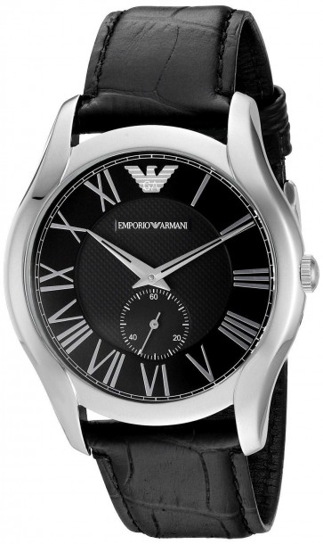 Emporio Armani Mens Watch Black Leather Strap Black Dial AR1703