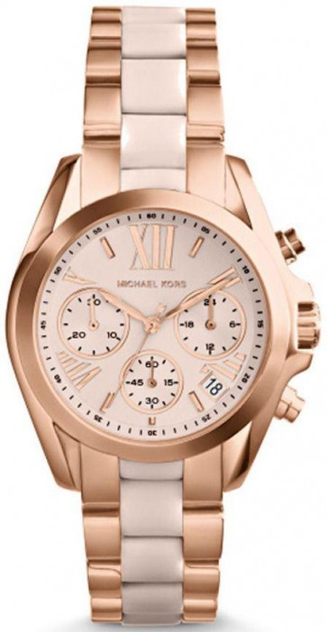 Michael Kors Bradshaw Ladies Chronograph Watch Rose Gold Bracelet MK6066
