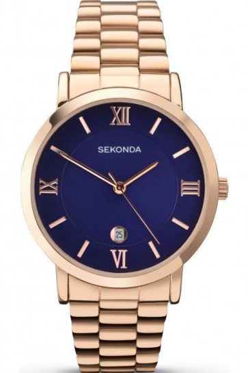 Sekonda Mens Watch Blue Dial Rose Gold PVD Case and Bracelet SK1090