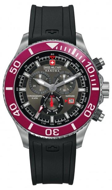 Swiss Military Mens Wrist Watch Black Strap Silver Dial SM34223AEU/H01S