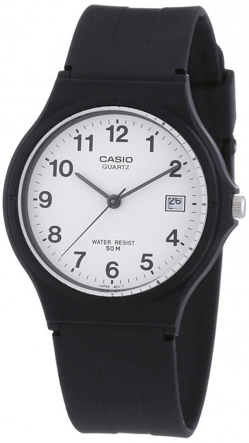 Casio Unisex Watch White Dial Black Strap MW-59-7BVEF