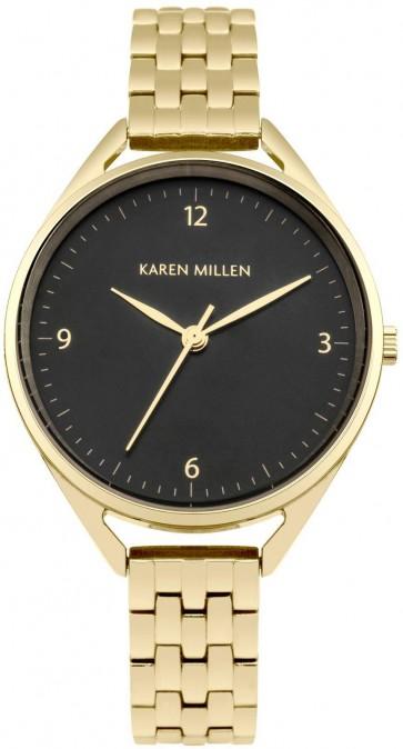 Karen Millen Wrist Womens Watch Black Dial Gold Bracelet KM130BGM