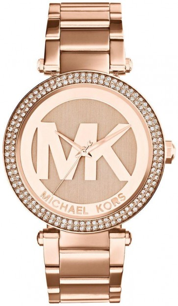 Michael Kors Parker Ladies  Watch Rose Gold PVD Bracelet Rose Gold Dial with MK Logo MK5865