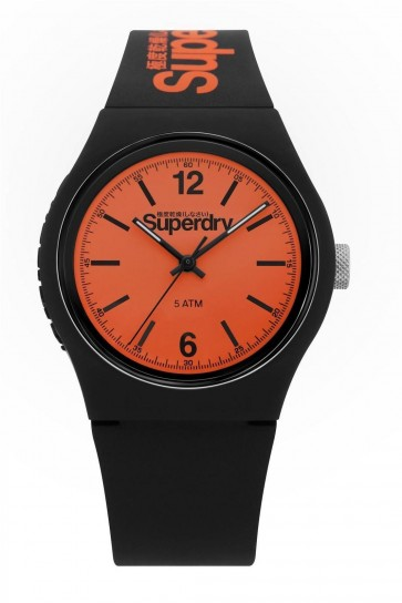 Superdry Unisex Urban Black And Orange Silicone Strap Watch SSYG017BO