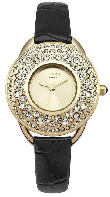 Lipsy Womens Quartz Watch Gold Dial Analogue Display Black Polyurethane Strap LP448