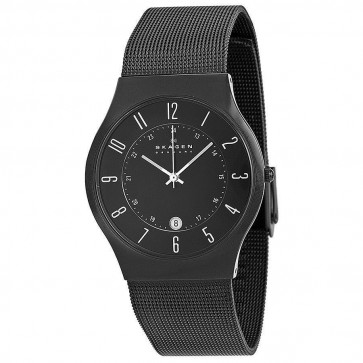 Skagen Mens Black Titanium Case Stainless Steel Mesh Watch 233XLTMB