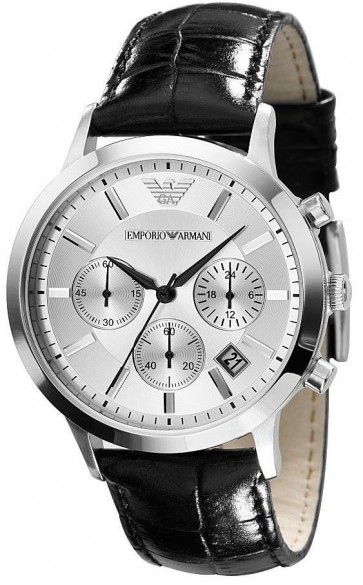 Emporio Armani Mens Chronograph Watch Black Leather Strap Silver Dial AR2436