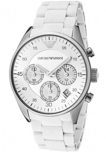 Emporio Armani Ladies Chronograph Watch White Dial White Silicone Strap AR5867