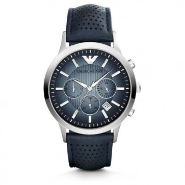 Emporio Armani Mens Chronograph Watch Blue Leather Strap Blue Dial AR2473