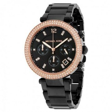 Michael Kors Ladies Parker Chronograph Watch Black Strap Dial MK5885