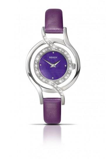 Seksy by Sekonda Ladies Womens Wrist Watch Purple Strap Blue Dial 4524