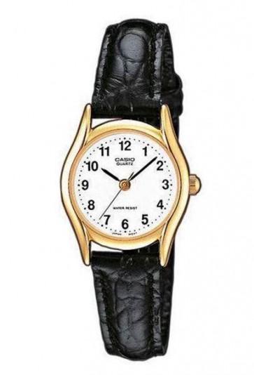 Casio Ladies Watch Gold Tone Case Black Leather Strap LTP-1154PQ-7BEF