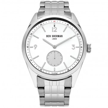 Ben Sherman Mens Gents Wrist Watch Silver Strap White Face WB052SM