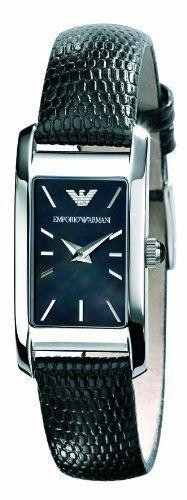 Emporio Armani Ladies Watch Black Leather Strap Silver Dial AR0731