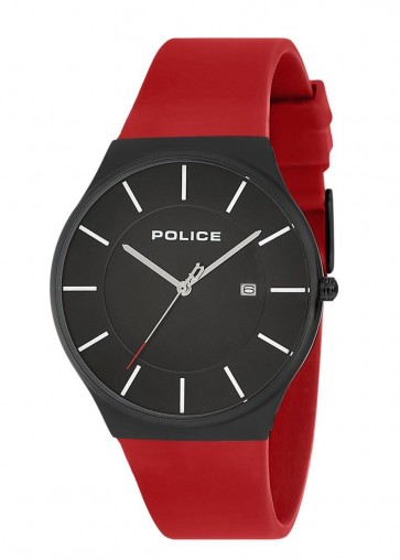 Police Mens Gents Horizon Wrist Watch Red Silicone Strap 15045JBCB/02PB