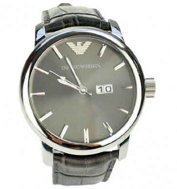 Emporio Armani Mens Watch Black Leather Strap Black Dial AR0430