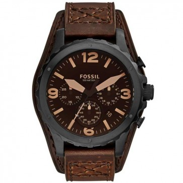 Fossil Mens Nate Chronograph Watch Brown Leather Strap Black Dial JR1511