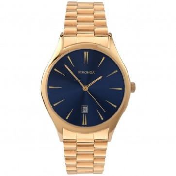 Sekonda Mens Gents Wrist Watch Gold Strap Blue Face 1018