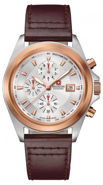 Swiss Military Mens Wrist Watch Brown Strap Gold Dial SM33786AEU/H02TXS