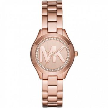 Michael Kors Ladies Slim Runway Wrist Watch Rose Gold Face Dial MK3549