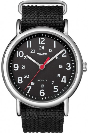 Timex Mens Indiglo Watch Black Nylon Strap Black Dial T2N647