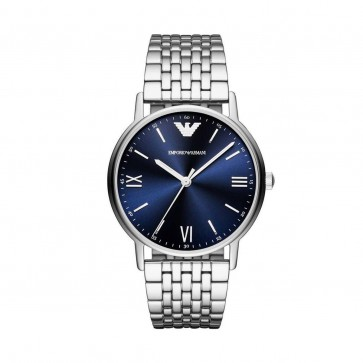 Emporio Armani Mens Gents Wrist Watch Stainless Steel Blue Dial AR80010