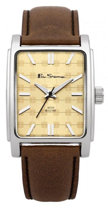 Ben Sherman Mens Gents Watch Brown Strap Beige Face Silver Dial BS033