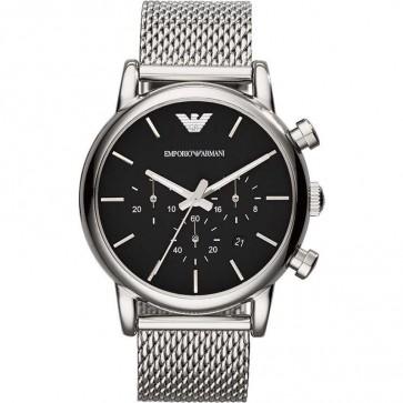 Emporio Armani Mens Chronograph Watch Mesh Bracelet Black Dial AR1811