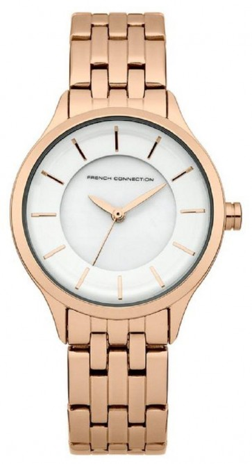French Connection Ladies Watch White Dial Rose Gold Stainless Steel Bracelet FC1179RGM