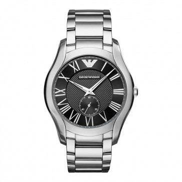 Emporio Armani Mens Gents Watch Silver Stainless Steel Strap Black Dial AR11086