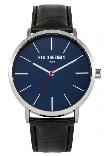 Ben Sherman Mens Gents Wrist Watch Black Strap Blue Face WB054B
