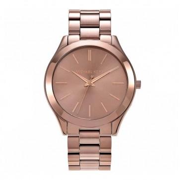 Michael Kors Slim Runway Womens Ladies Watch Bronze Stainless Steel Bracelet Bronze Dial MK3418