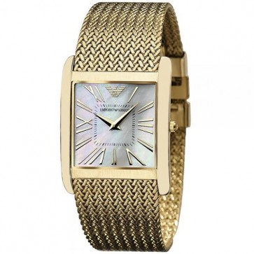 Emporio Armani Ladies Watch Gold PVD Mesh Strap White Dial AR2016
