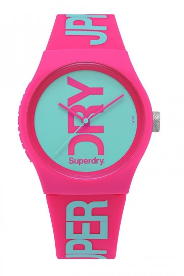 SUPERDRY URBAN Womens Ladies Pink Silicone Strap Aqua Dial Wrist Watch SYL004PA