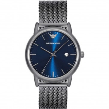 Emporio Armani Mens Gents Watch Silver Stainless Steel Strap Blue Dial AR11053