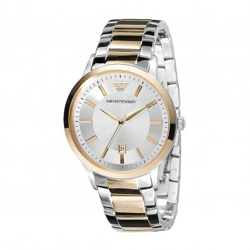 Emporio Armani Ladies Two Tone Stainless Steel Strap Silver Dial AR2450