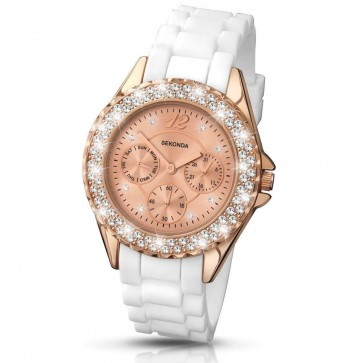 Sekonda Womens Ladies Wrist Watch Rose Gold Face White Strap 4663