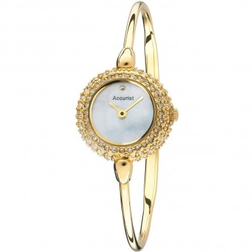 Accurist Ladies Watch White Mother of Pearl Dial Gold PVD Bracelet LB1493W