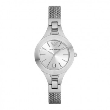 Emporio Armani Womens Ladies Watch Silver stainless Steel Strap Silver Dial AR7401