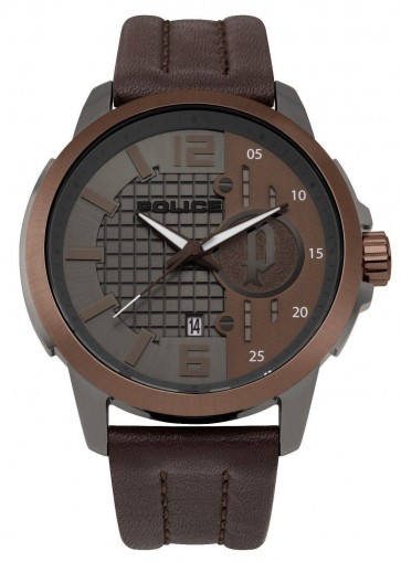 Police Mens Gents Squad Wrist Watch Brown Leather Strap 15238JSUBN/13