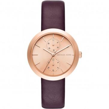 Michael Kors Thin Garner Ladies Wrist Watch Gold Dial Burgundy Strap MK2575