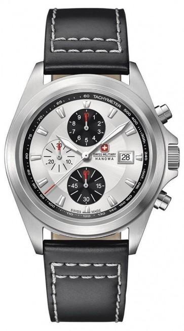 Swiss Military Mens Wrist Watch Black Strap Silver Dial SM33786AEU/H01TXS