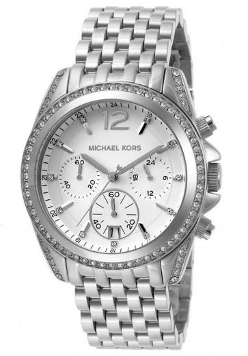Michael Kors Presely Ladies Chronograph White Dial Silver Bracelet MK5834