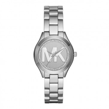 Michael Kors Ladies Womens Mini Runway Wrist Watch Silver Face Dial MK3548