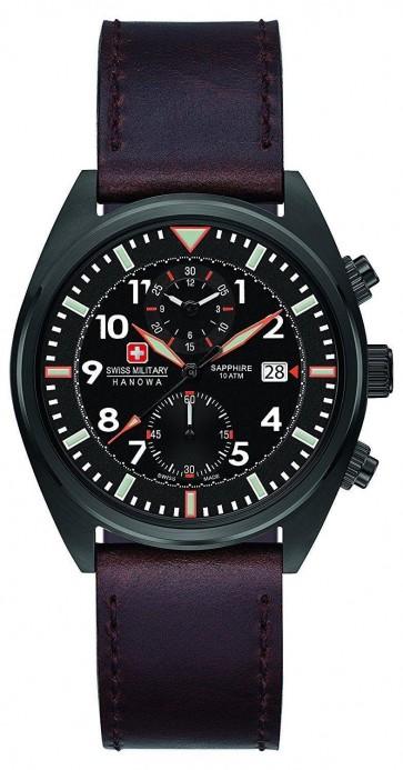 Swiss Military Mens Wrist Watch Brown Leather Strap BlackFace SM34302AEU/H03S