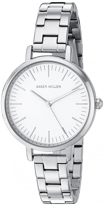 Karen Millen Womens Wrist Watch Silver Stainless Steel Bracelet KM126SM